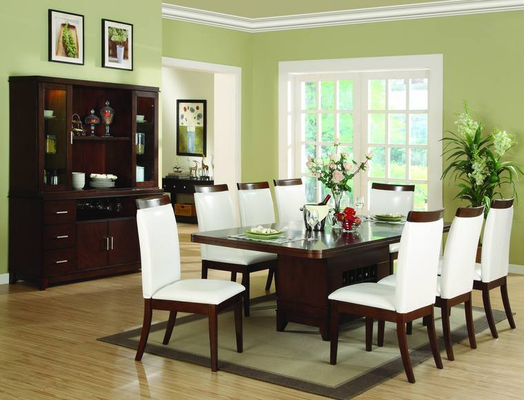 Modern dining room sets to give trendy look in modern home for Light green dining room