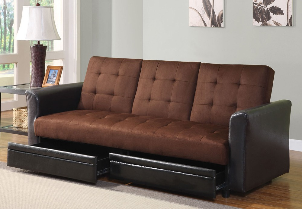 Sofa convertible bed leatherette modern sectional for Divan convertible