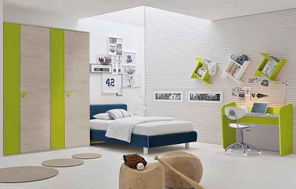 Kids Bedroom Design With Yellow And Blue Accent