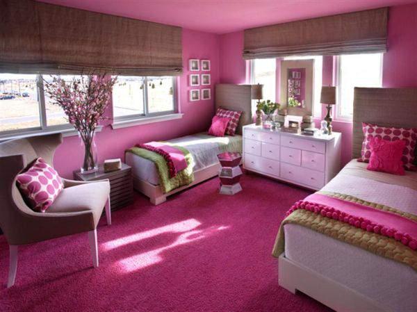 Stylish Pinky Teenage Girls Bedroom Design Ideas