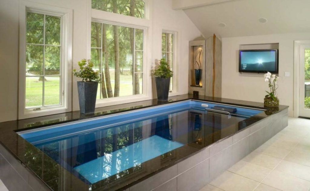 Wonderful small indoor pool design diy for Diy pool house plans