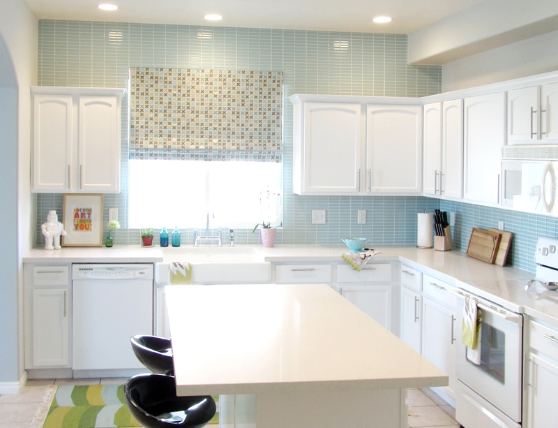 Blue Subway Tile Kitchen