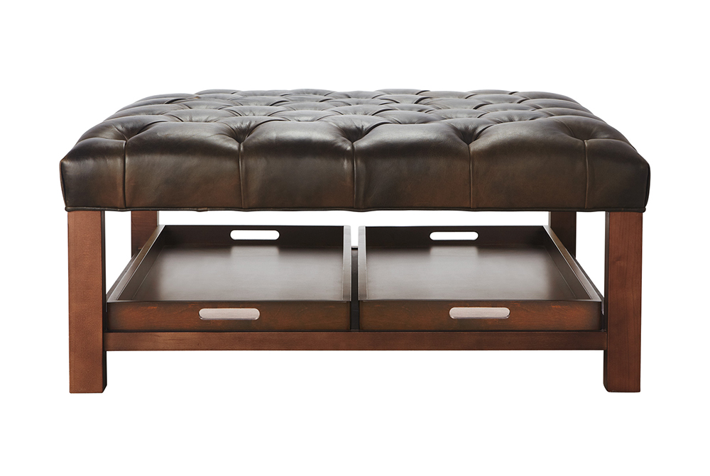 Beau Tufted Leather Ottoman Coffee Table