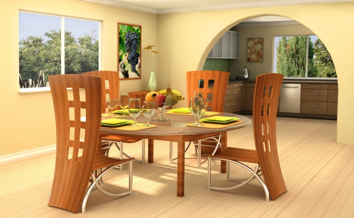 Modern Stylish Round Glass Top Dining Table Sets With Pine Wood Chairs