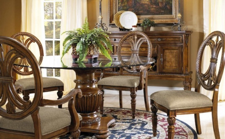 Round Glass Dining Room Table Sets With Dark Walnut Wood