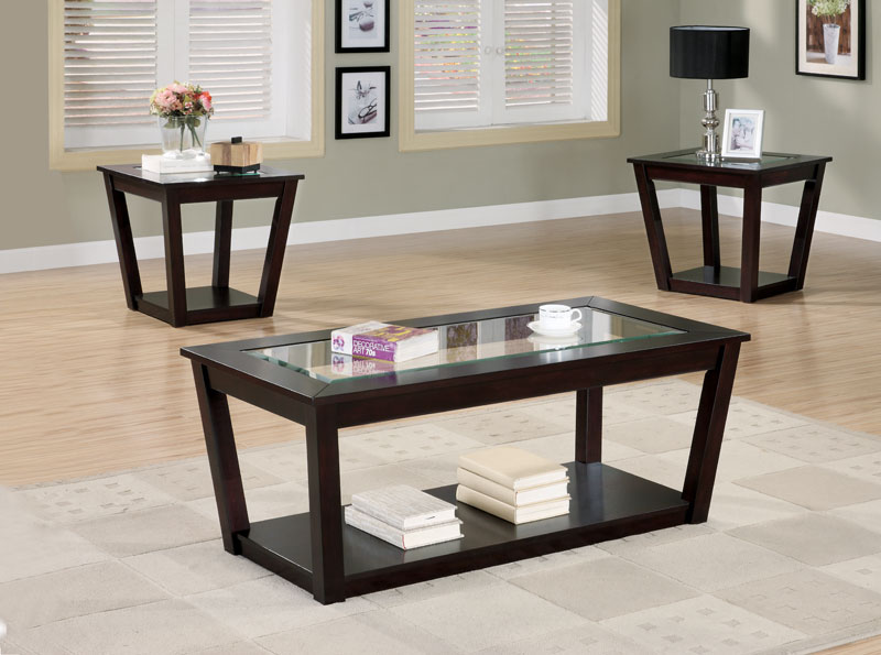 Black Coffee Table Sets and End Tables with Marble Top