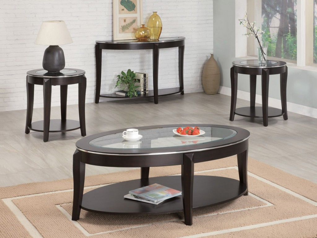 Black coffee table set -  Black Oval Coffee Table Sets And End Tables