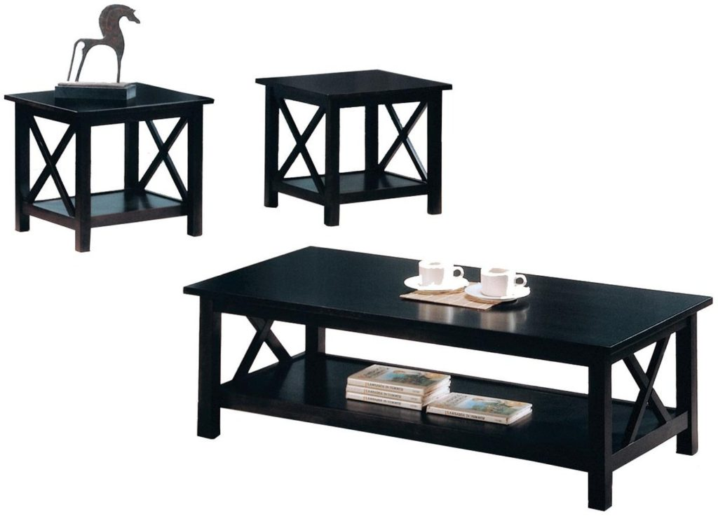 Black coffee table sets for unique your living spaces look for X coffee tables