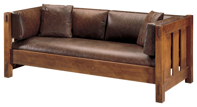 craftsman leather couch design