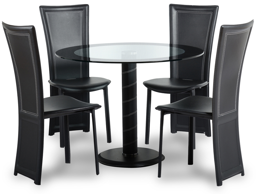 Glass round dining table and 4 chairs set for Stylish dining table set