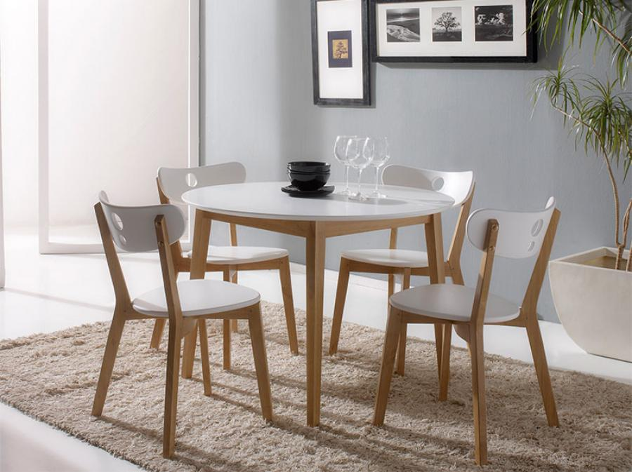 Modern white round dining table set for 4 for Round dining table set for 4