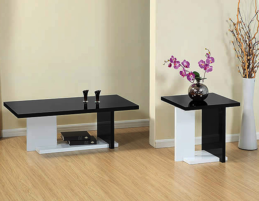 Modern white and black coffee table sets Black and white coffee table