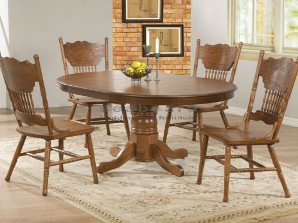 Oak round dining table set for 4 for Four chair dining table set