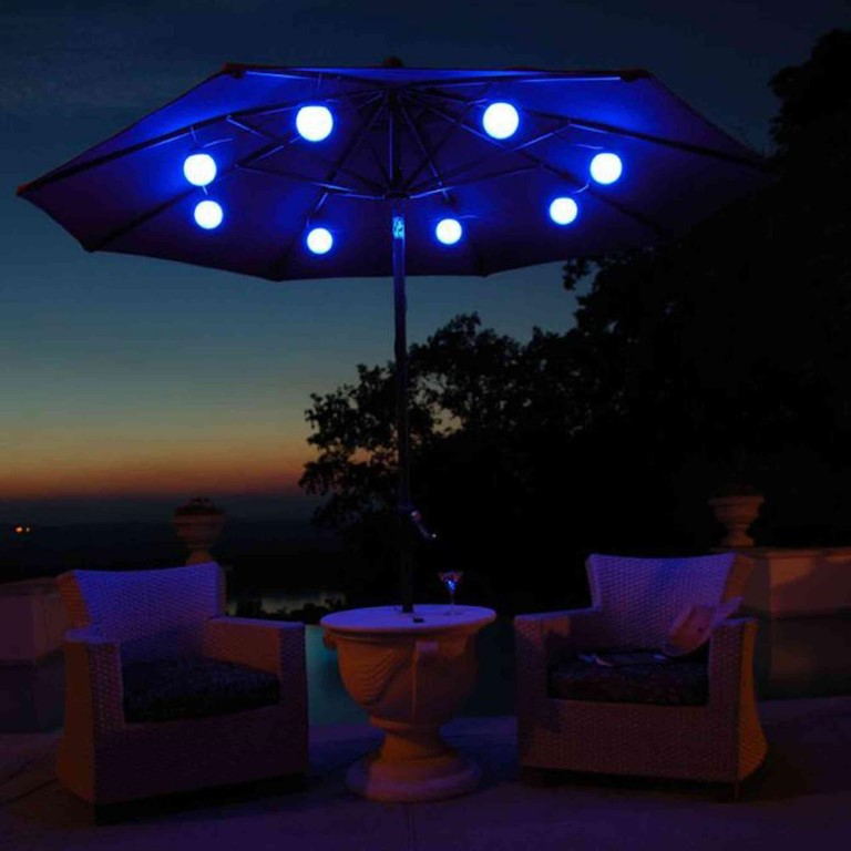 Outdoor Patio Umbrella Lights Blue
