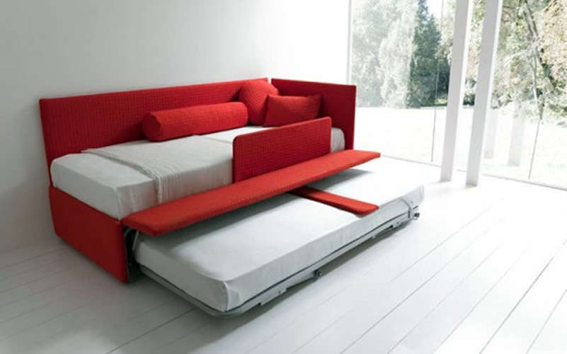 Red Loveseat Sleeper Sofa With Additional Movable Trundle