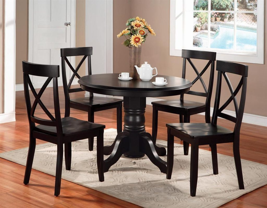 Round dining table set 4 for small dining room for Black dining room furniture