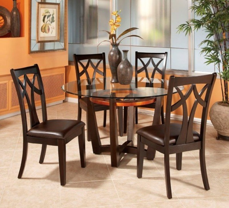 Glass Wood Dining Table Round round glass top dining table set w 4 wood back side chairs | eva