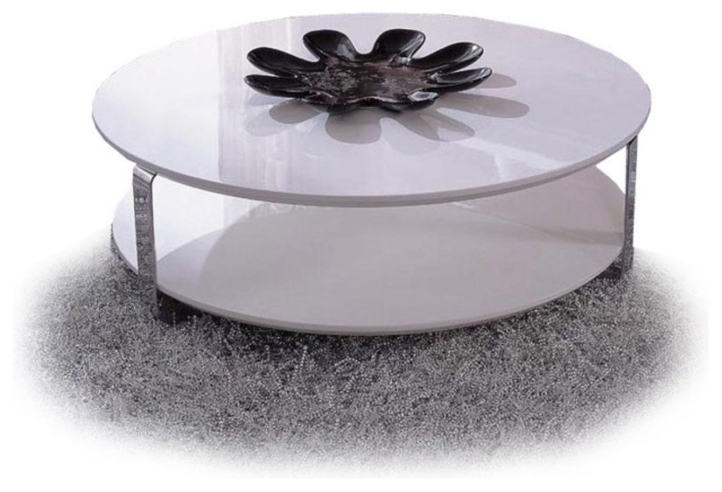 Round modern white coffee table Round coffee table modern