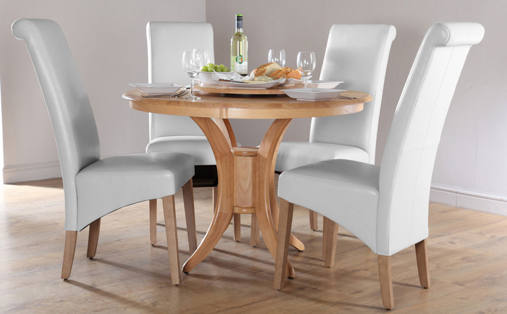 Round White Dining Table Set for 4 with Decoration
