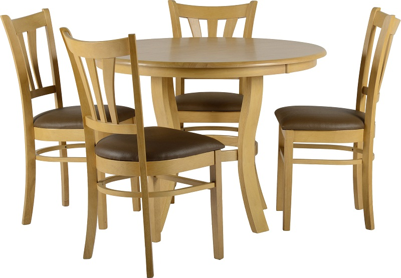 Round wood dining table for 4 chairs set for Round dining table set for 4