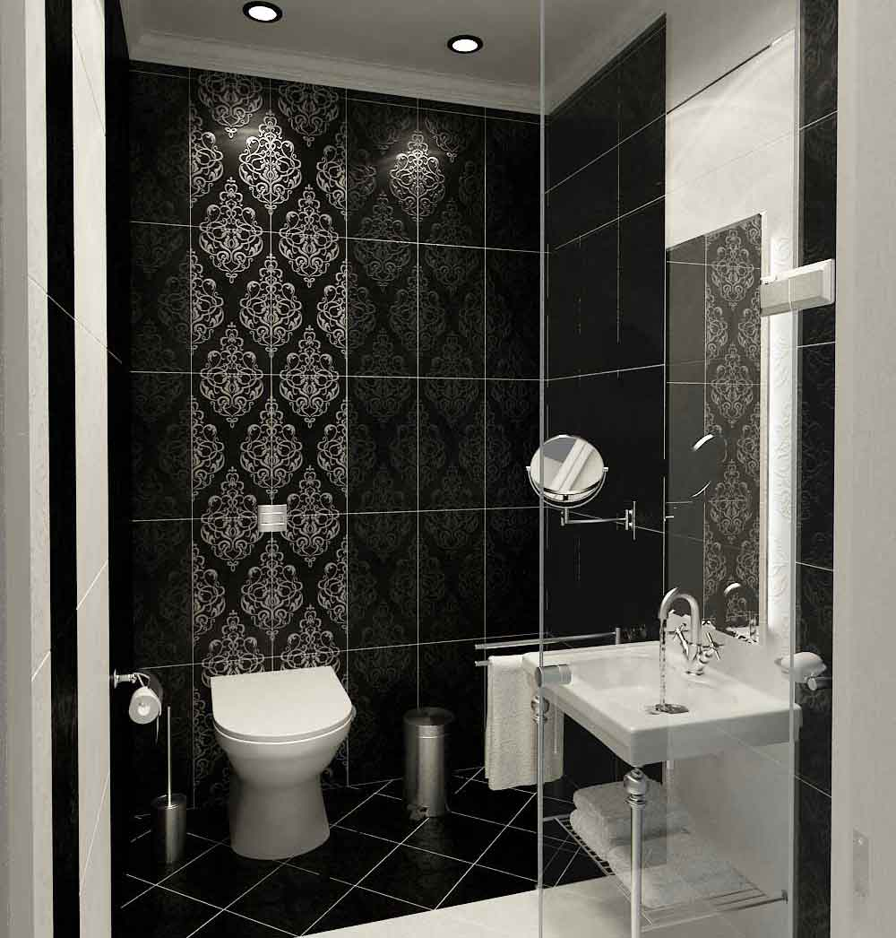 Bathroom designs pictures with tiles -  Small Bathroom Black And White Tile Design Ideas