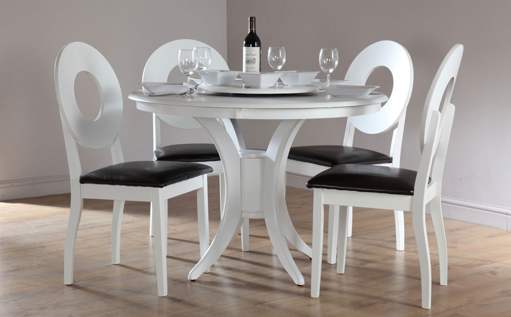Attirant White Round Dining Table Set For 4