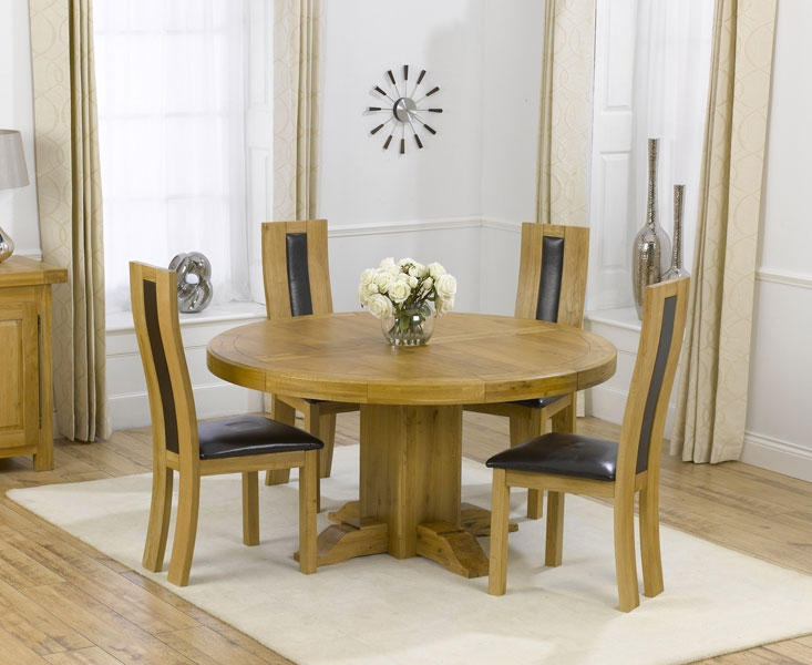 Zenia Oak 150cm Round Dining Table for 4 Chairs