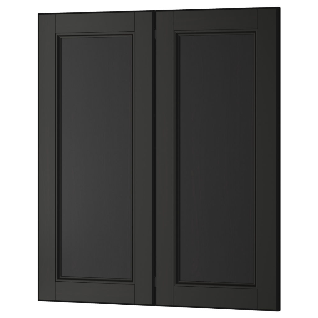 Black kitchen cabinets with glass doors for Black kitchen cabinets images