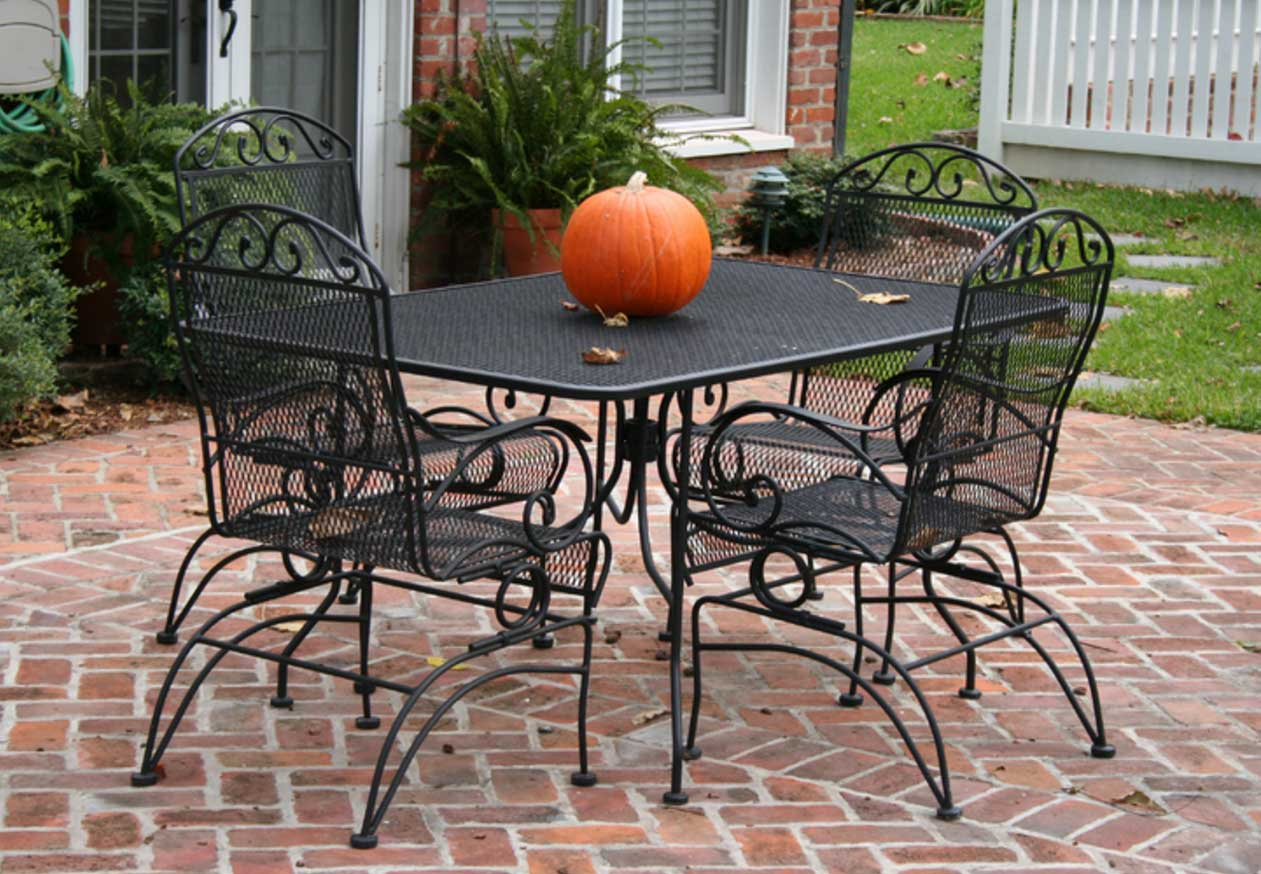 Antique iron patio furniture -  Rectangular Patio Set Table And Four Chairs Luxury Wrought Iron