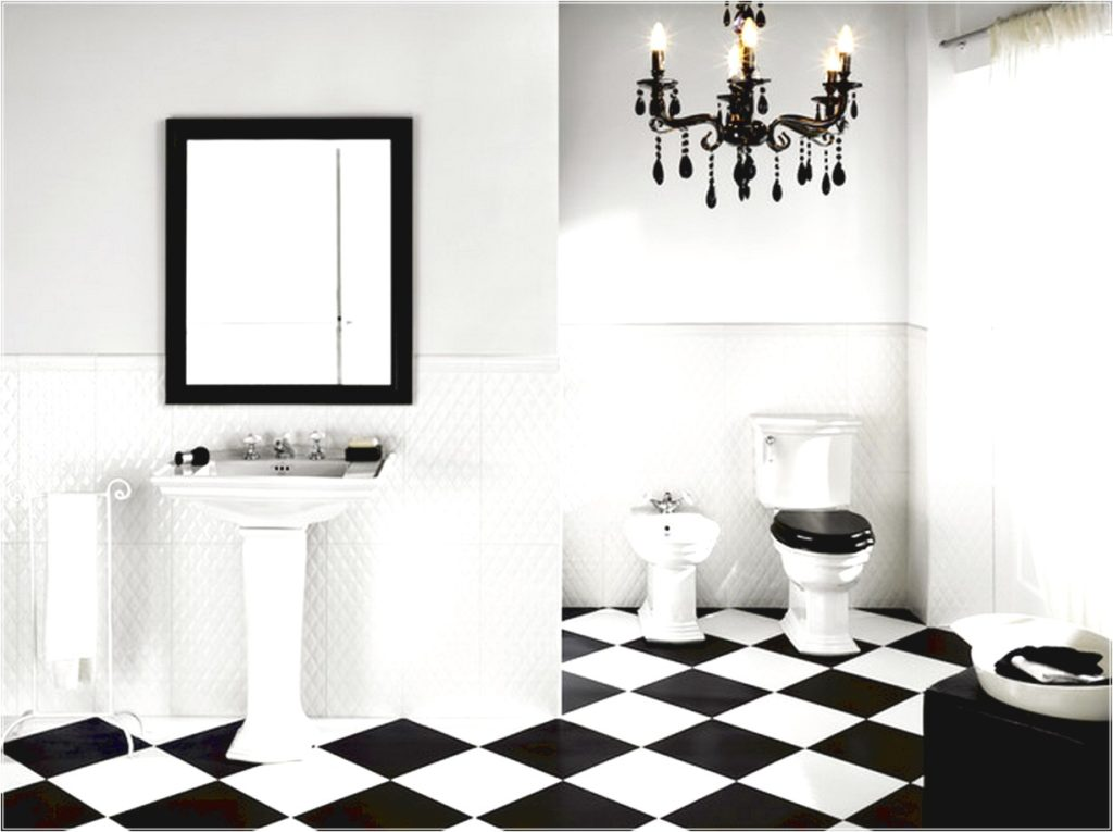 Black and white bathroom floor tile for Black and white tile floors
