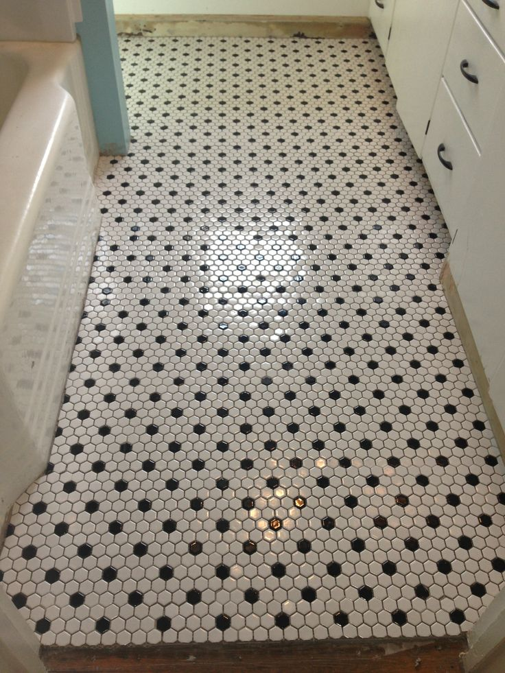 Black And White Hexagonal Bathroom Floor Tile