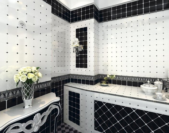 Black and white tile bathroom design ideas eva furniture for Carrelage noir et blanc salle de bain