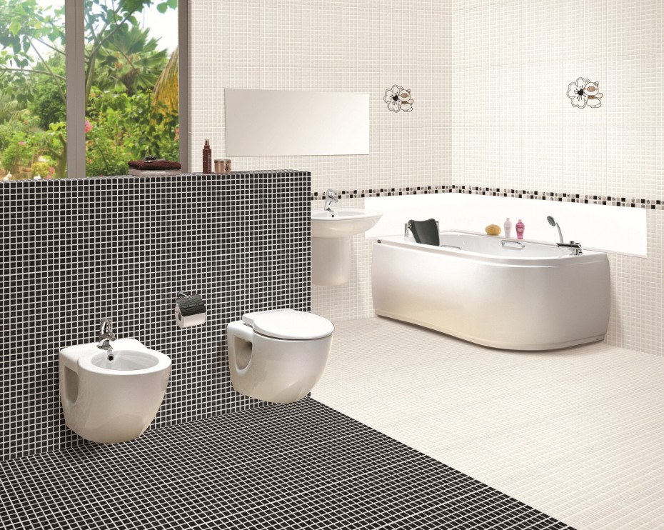 Modern black and white bathroom tile designs for Bathroom ideas black tiles
