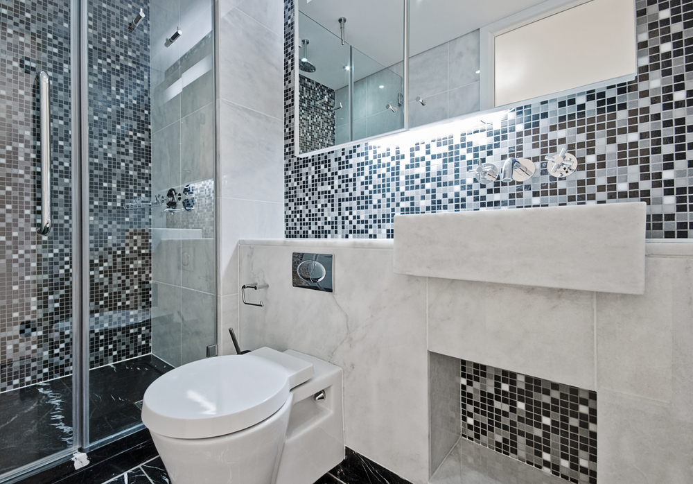 Beau Mosaic Black And White Tile Designs For Bathrooms