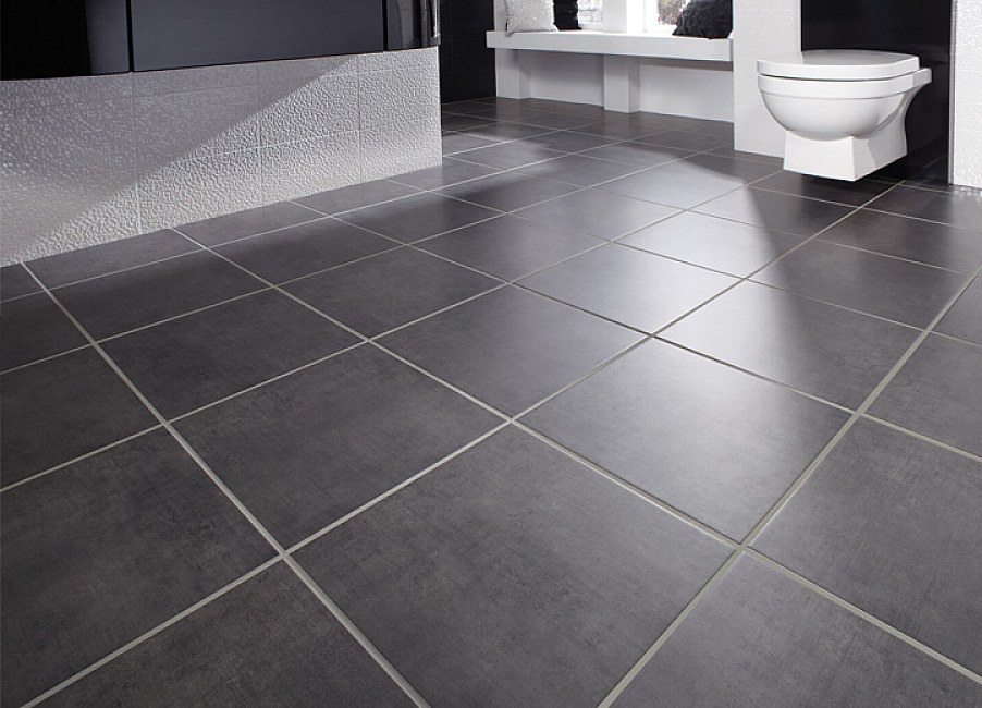 Easy Bathroom Flooring Ideas Part - 28: Awesome Heksagon Bathroom Floor Tile Ideas; Simple Black Bathroom Floor  Tile ...