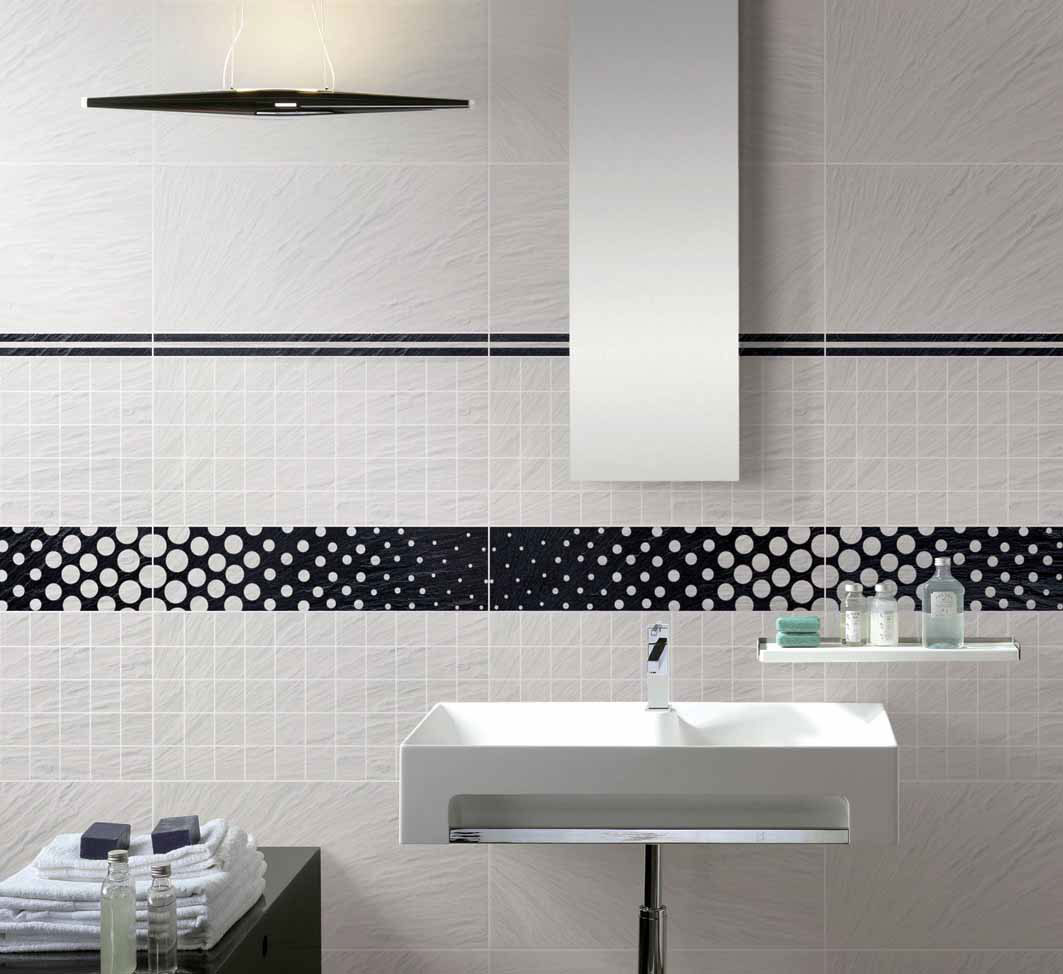 Simple black and white bathroom tile for backsplash usage for Bathroom ideas using subway tile
