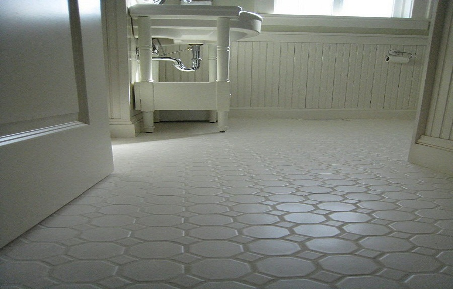Small Bathrooms White Hexagon Concrete Bathroom Floor Tile EVA - Bathroom floor tile designs for small bathrooms