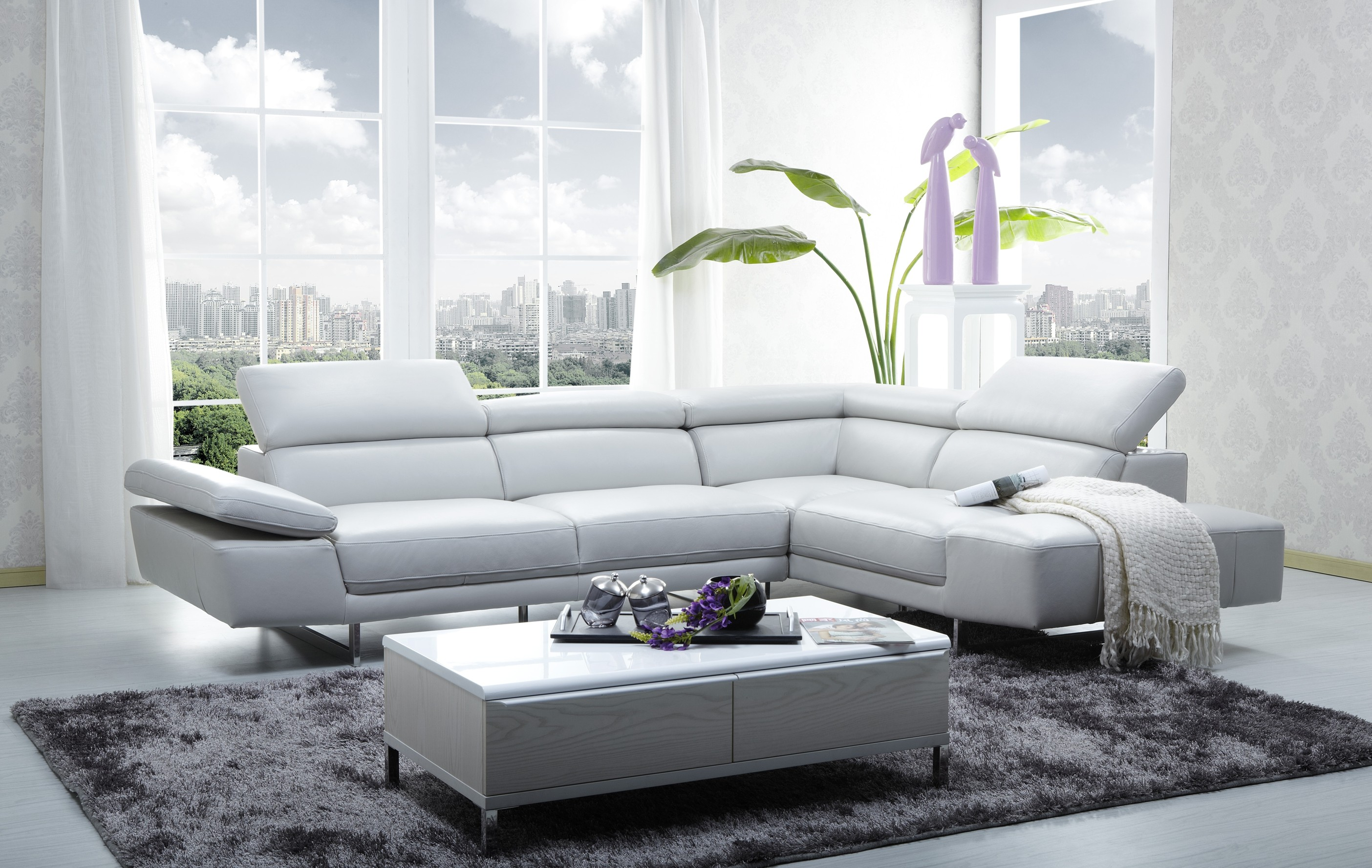 Small Apartment Design Interior With White Sectional Sofa Beds ...