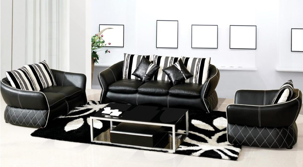 Black and white leather sofa set for a modern living room eva furniture - Black livingroom furniture ...