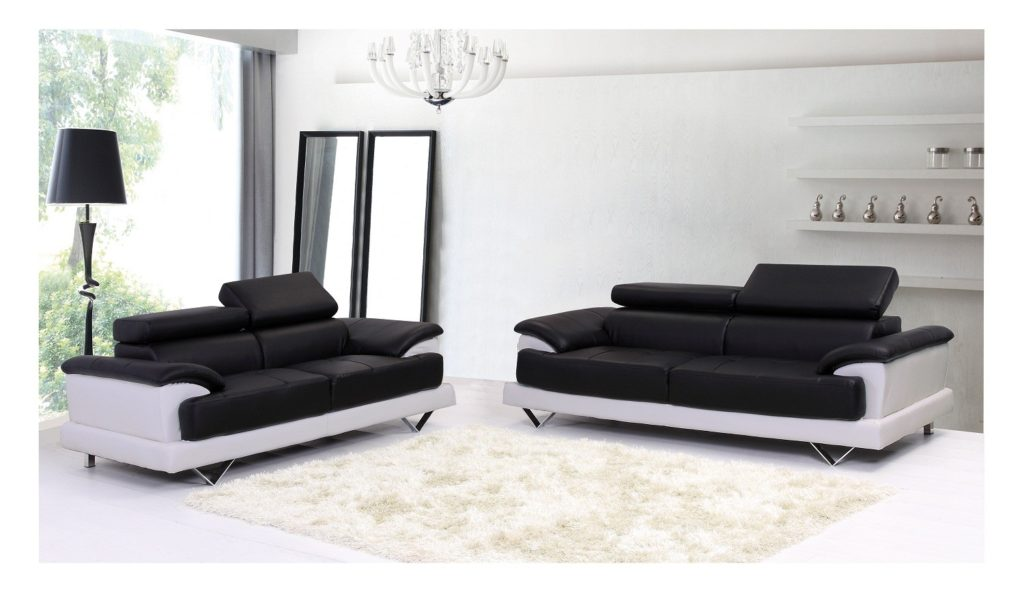 Delicieux Black And White Bonded Leather Sofas For Living Room