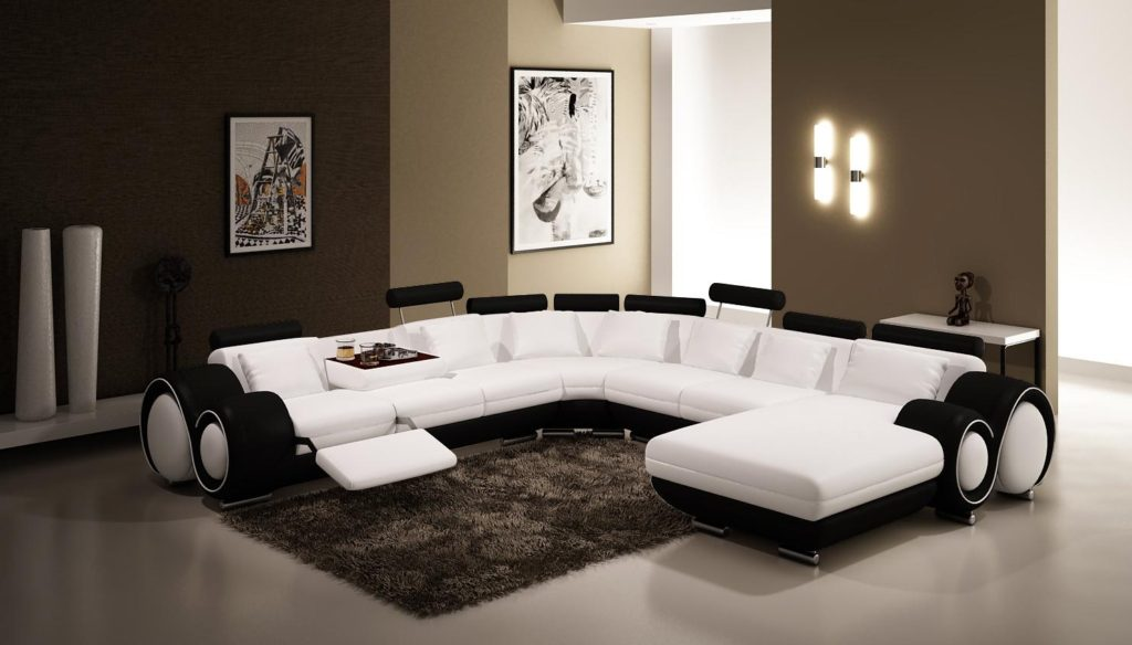 Black and white leather sofa set for a modern living room for Modern white living room furniture