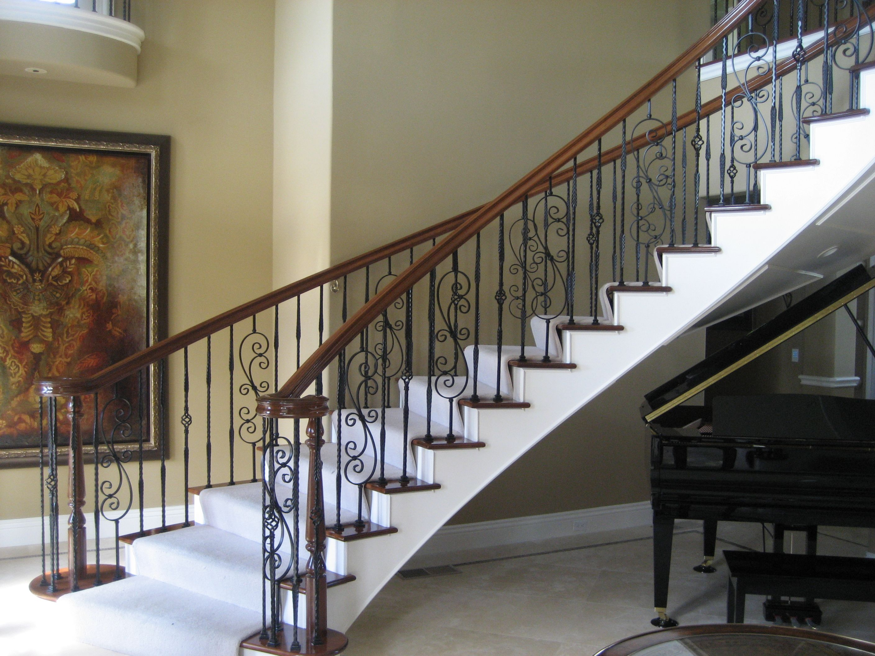 Awesome ... Brown Stairs Railing Designs ...