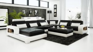 Black and White Leather Sofa Set for a Modern Living Room