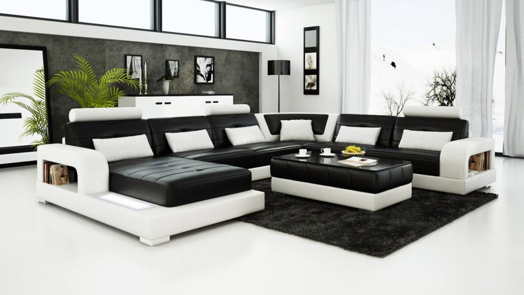 Contemporary black and white leather sofa set sleeper sofa for Modern black and white furniture