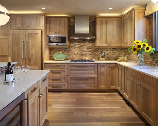 Contemporary hickory kitchen cabinets picture ideas for India kitchen cabinetry show 2016