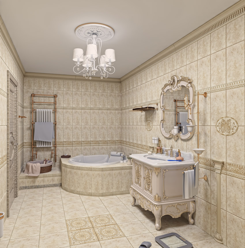 Elegant Luxury Master Bathroom With White And Gold Design