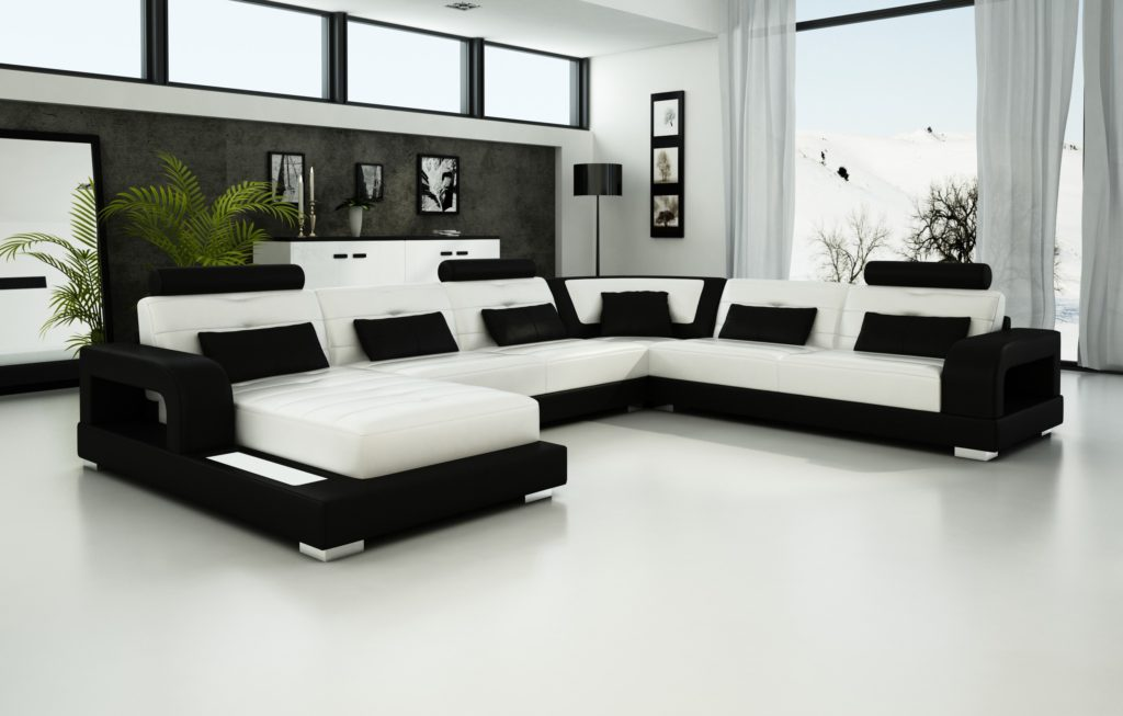 Black and white leather sofa set for a modern living room for Sofa set designs for small living room