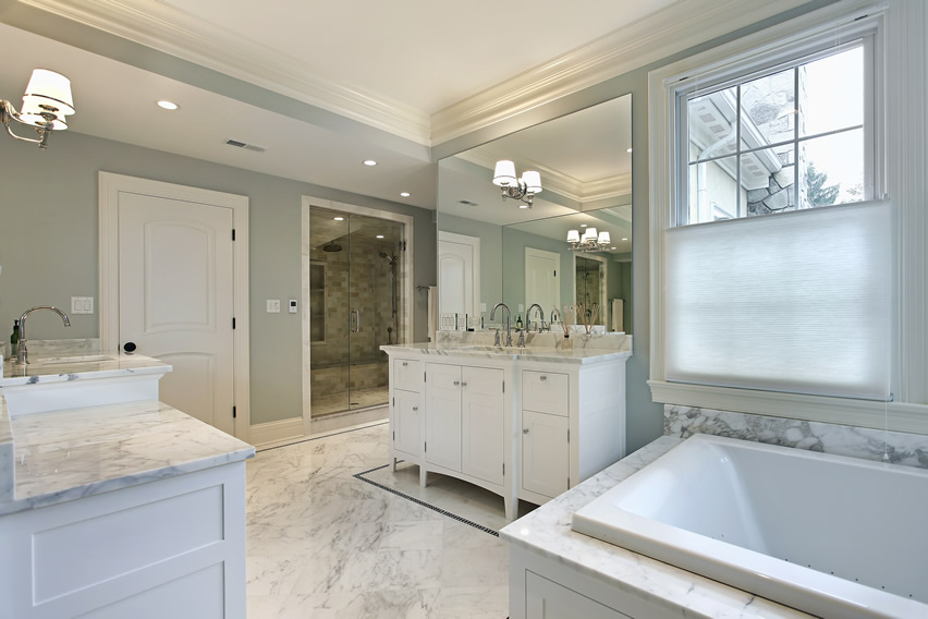 Master White Bathroom Tile Ideas With Marble For Luxury