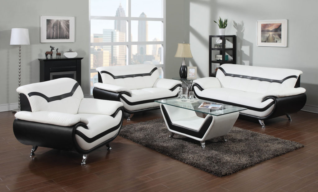 Modern White and Black Leather Sofas with for Small Living Room