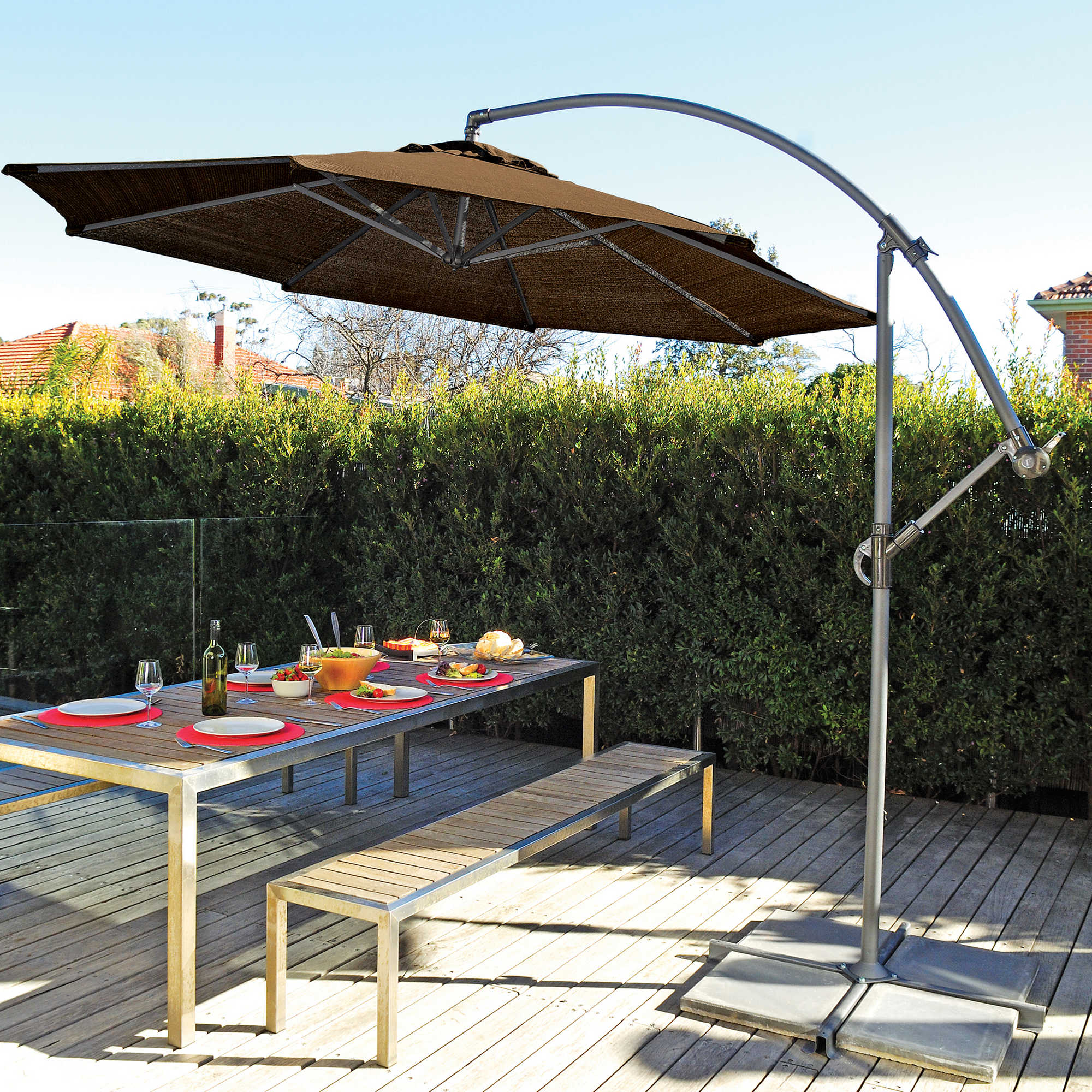 ... Umbrella · Patio Bench And Patio Table With Offset Patio